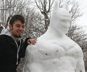 The Dark Knight Melts: 6-Foot-Tall Snow Batman