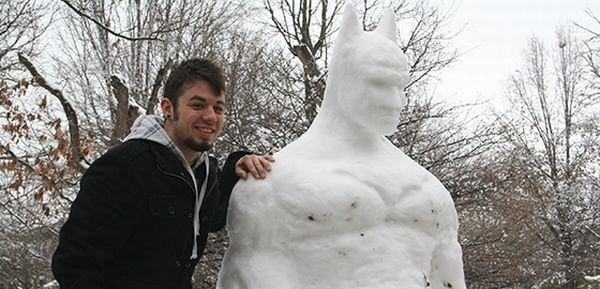 The Dark Knight Melts: 6-Foot-Tall Snow Batman