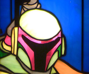 Boba Fett Stained Glass Spotted at The Church of Mandalore