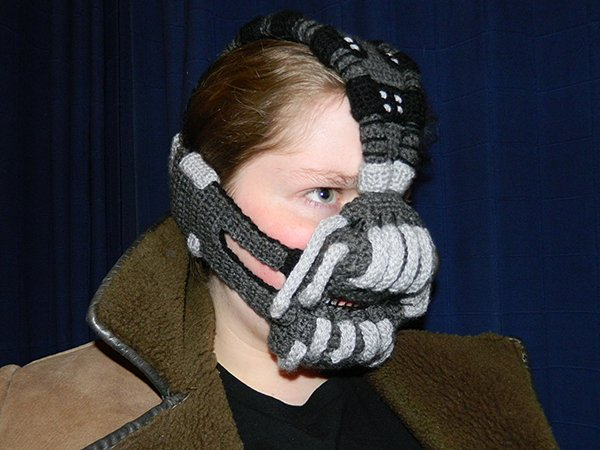 crocheted bane mask by rose pope