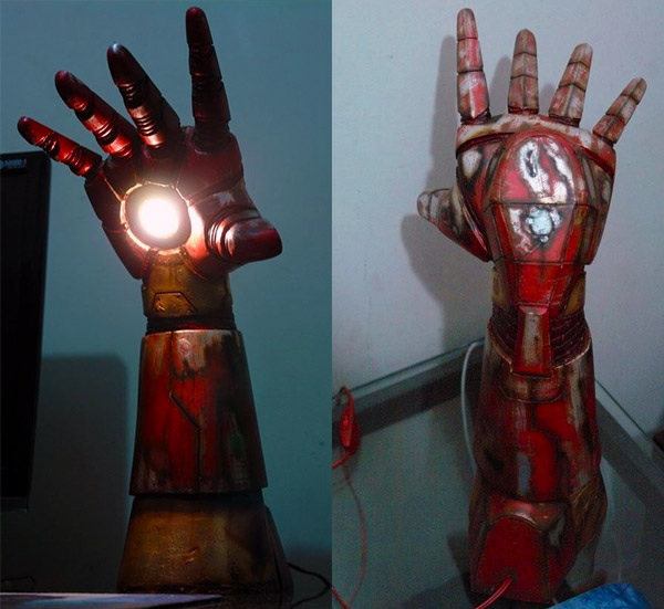 iron man repulsor desk lamp stark out of the dark technabob. Black Bedroom Furniture Sets. Home Design Ideas
