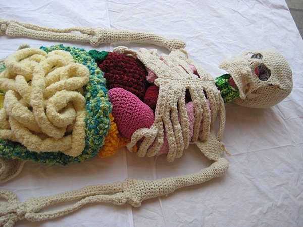Life-Size Crocheted Skeleton with Organs: Undead Sackboy