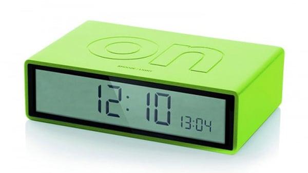 lexon flip alarm clock green photo