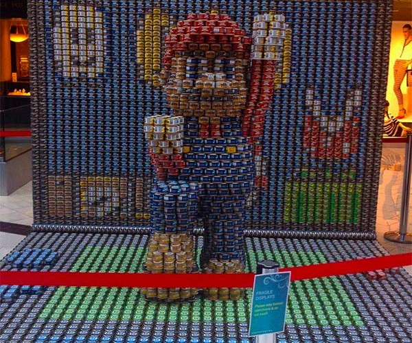 Mario Sculpture Made out of Canned Food: Not One Filled with Cream of Mushroom Soup