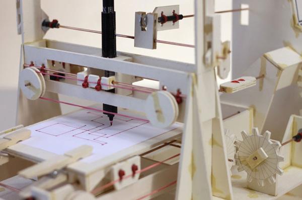 niklas roy cardboard plotter computer pen