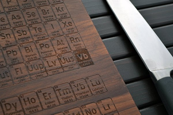 Periodic table cutting board adds an element of geekery in the you can also customize the board and have your name and initials take the spot of the 118th element ununoctium urtaz Images