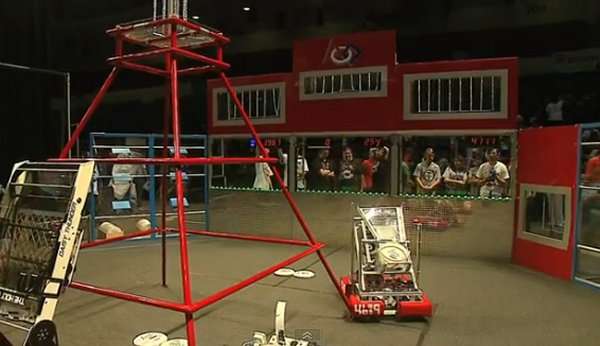 Robots Compete by Throwing Frisbees and Climbing Pyramids