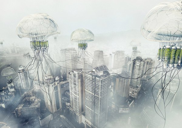 robotic jellyfish pollution ph conditioner skyscraper photo