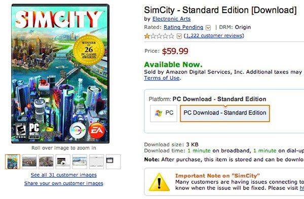 After Numerous Bad Reviews, Amazon Stops Selling Download Copies of Simcity