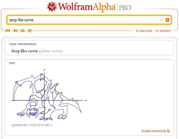 WolframAlpha StarCraft Easter Egg: Math of the Swarm