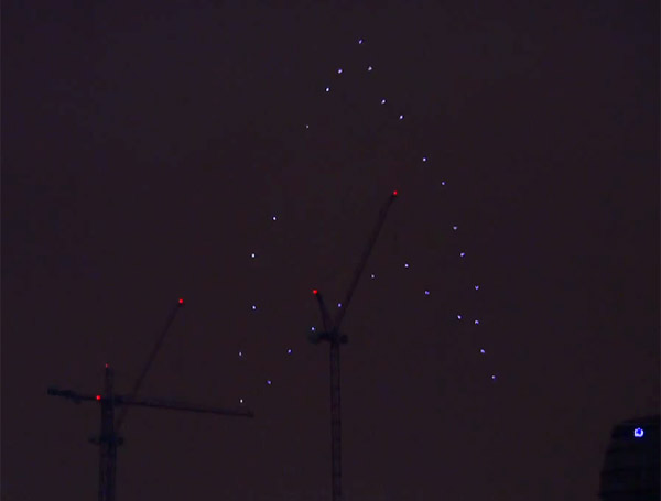 Quadcopter Fleet Forms Starfleet Insignia in London Sky