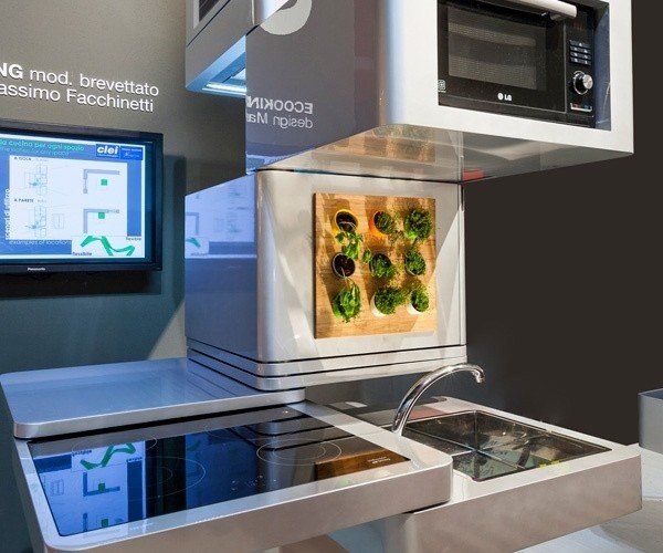 Ecooking is a Vertical, Modular Kitchen: Everything AND the Kitchen Sink