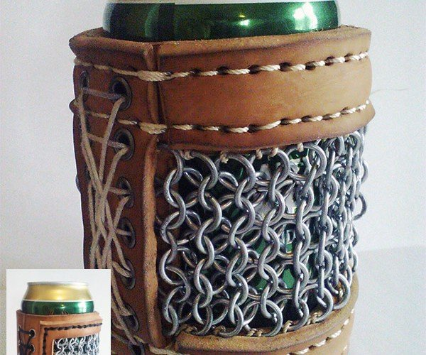 Leather and Chainmaille Beer Koozie: Armor for Your Altbier