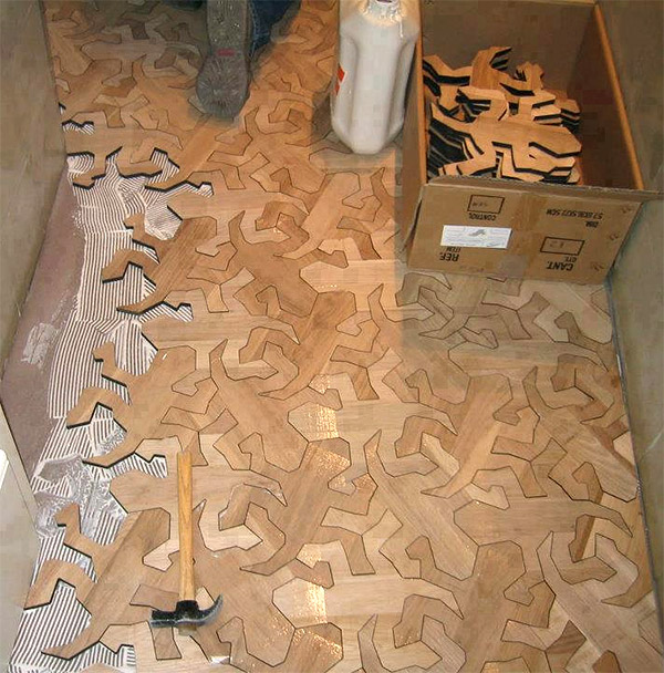 Escher reptile flooring lizards under foot technabob for Wood floor pieces