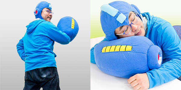 mega man mega buster arm cannon helmet plush pillow 2