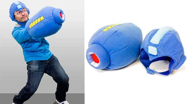 mega man mega buster arm cannon helmet plush pillow