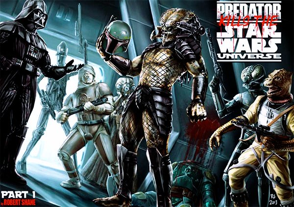 Predator Kills the Star Wars Universe, Gets a Cool Trophy of Fett's Head as Its Prize