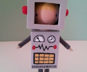 robot boy clothespin doll 300x250