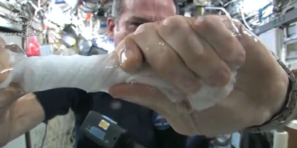 In Space, No One Can Hear You Squeeze (a Wash Cloth)