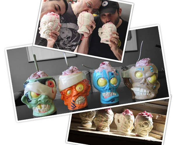 Zombie Head Ice Cream Cups and Beer Mugs: Fancy a Cup o' Brains?