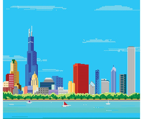 Pixel Art Skyline Prints: Bright Lights, 8-Bit Cities
