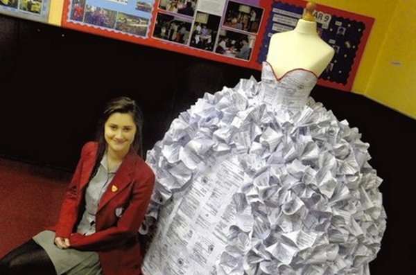 The Irony of It All: Wedding Dress Made from Divorce Papers