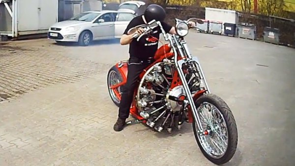 Motorcycle Gets Outfitted with 9-Cylinder Aircraft Engine, Still Can't Fly
