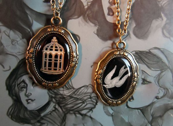 Bioshock Infinite Bird/Cage Necklaces: Choose Your Path (on Etsy)