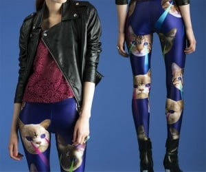 Laser Space Cat Leggings: Pew! Pew! Mew!