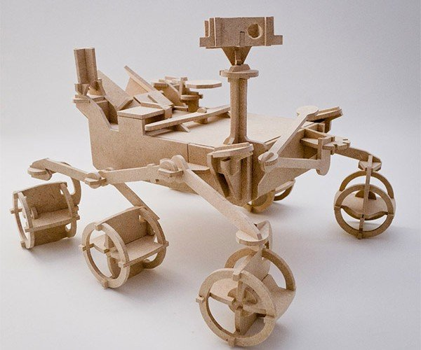 Mars Curiosity Rover Wood Model: Curious Why I Don't Have This on My Desk Yet