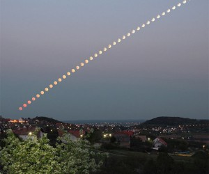 Photographer Captures Awesome Partial Lunar Eclipse Multiple Exposure Image