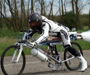 French Daredevil Rides Rocket Bicycle at 163 MPH