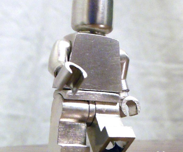 Sterling Silver LEGO Minifig Snaps Together with Regular Bricks: Metalfig