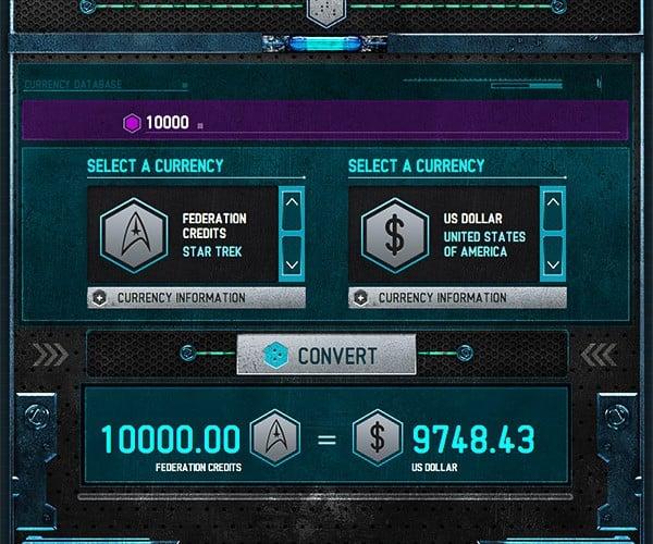 Intergalactic Exchange Bureau Converts Your Federation Credits into Simoleons