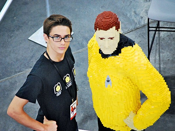 "Kid Builds Life-Size LEGO Captain Kirk, Should Be Called ""Captain Brick"""