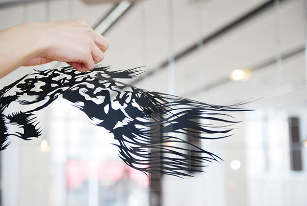 paper cut art nahoko kojima cloud leopard suspending