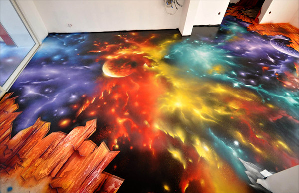 amazing space scene spray painted on floor i feel the galaxy move. Black Bedroom Furniture Sets. Home Design Ideas