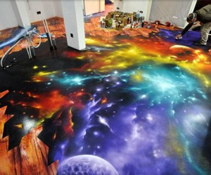 Amazing Space Scene Spray Painted on Floor: I Feel the Galaxy Move Under My Feet