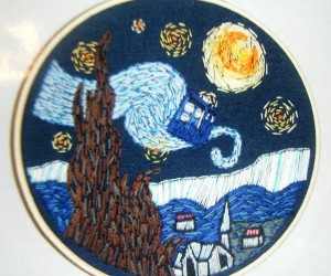 Starry Night TARDIS Embroidery: Time and Relative Dimension in Sewing