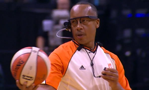 WNBA referee wearing the Ref Cam