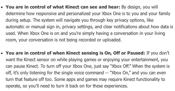xbox one kinect privacy policies