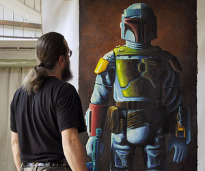Life-size Boba Fett Action Figure Oil Painting: Hang It Next to Han Solo in Carbonite
