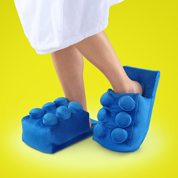 lego building brick slippers by thinkgeek