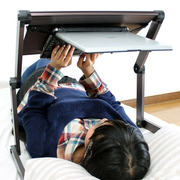 Adjustable standing computer desk - Lie Down Laptop Stand Lets You Work Like An Astronaut In Bed