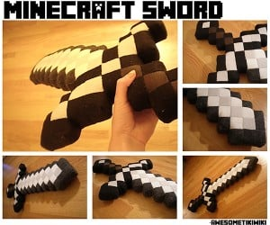 Minecraft Sword Plushie: Fleece + Felt + Fake Leather + Foam