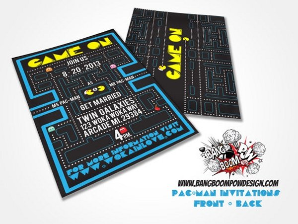 Pac-Man Wedding Invitations: Do You Take This Puck?