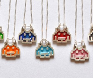 Space Invaders Silver Pendants Drop Down and Invade Your Neckline