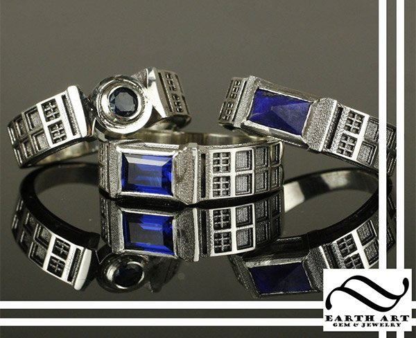 These TARDIS Rings By Earth Art Gem And Jewelry Make A Big Impression. They  Are Classy And Totally Timelord Styled. They Are Perfect For A Whovian  Wedding, ...