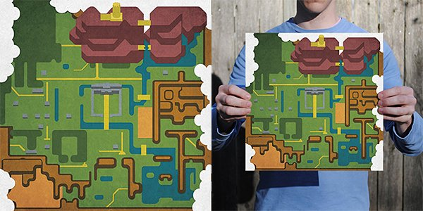 Minimalist Videogame Map Prints: You Were Here, and Here, and Here…