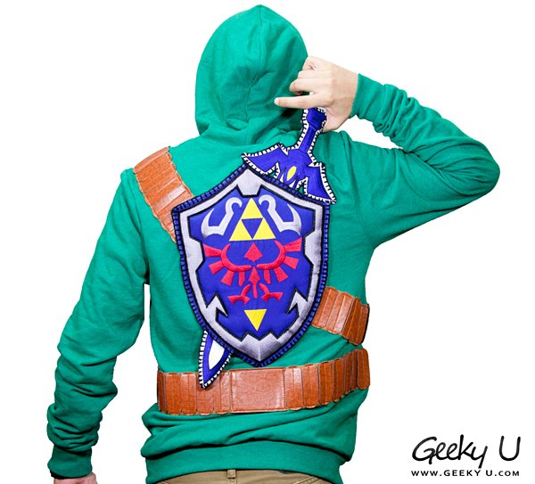 zelda sweatshirt with master sword and hylian shield by geeky u